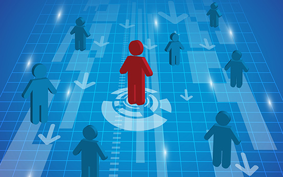 A man standing icon out from the crowd - leadership, recruitment and HR concept